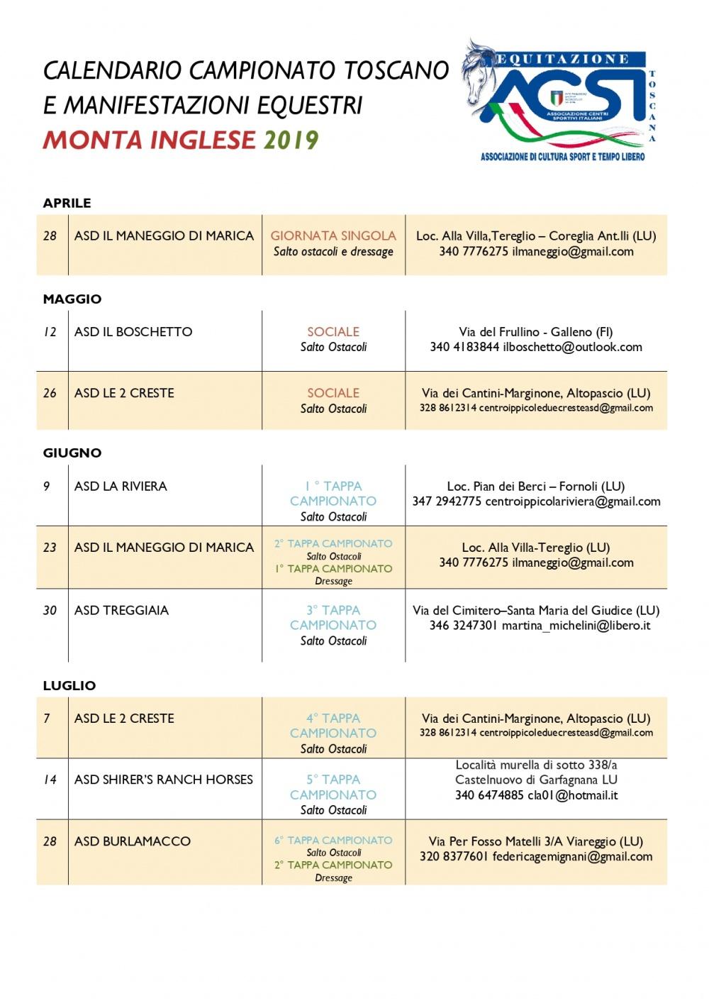 Calendario Regionale Salto Ostacoli.Campionato Toscano Monta Inglese 2019
